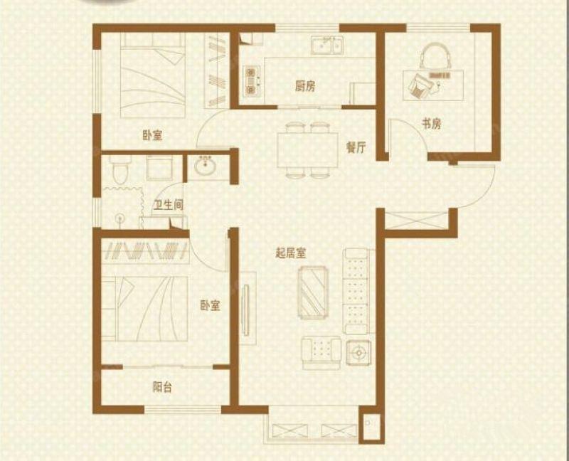 金地格林格林-三居室-88.70平米-户型图装修效果图-4套88平三居装修高清图片