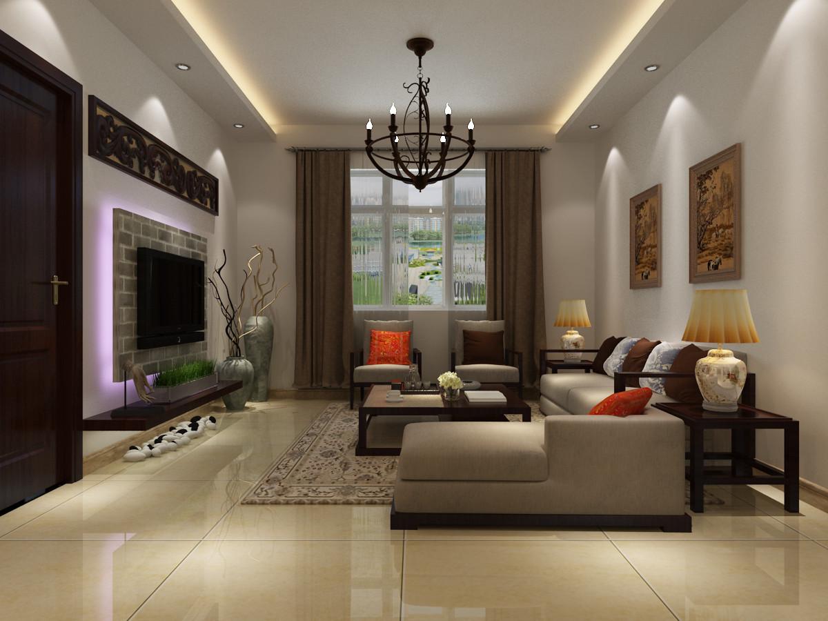 石膏板吊顶,石膏线,垃圾清运等)  【装修效果图展示】 客厅,以一种
