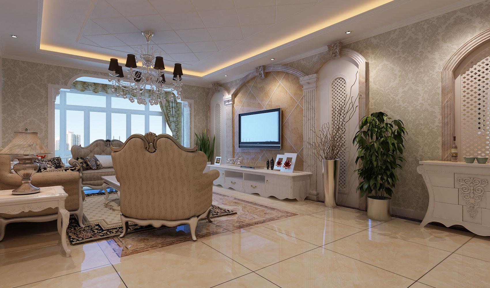 北京银珠家园西式古典三居室装修效果图_133平米9万-.图片
