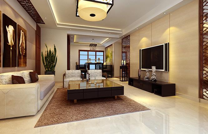橄榄城伍号院130平方三室两厅中式装修效果图