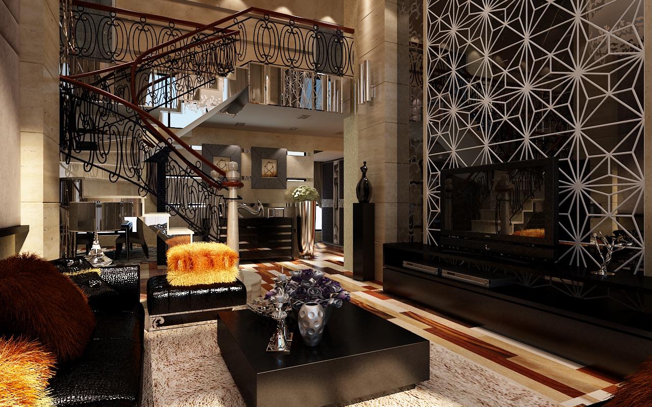 沙发背景的软包与电视背景的拼花从色彩和材质上既呼应又又有对比,营造出别具一格、非比寻常的装饰效果