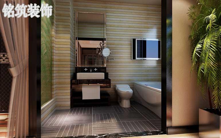 卫生间墙面用黄白相间的横条砖,地面用横竖相间的砖铺贴张显后现代的个性与时尚