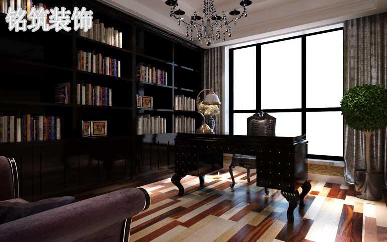 整个空间大胆的使用深色家具地面铺贴色彩有差异的木地板来达到视觉上的丰富