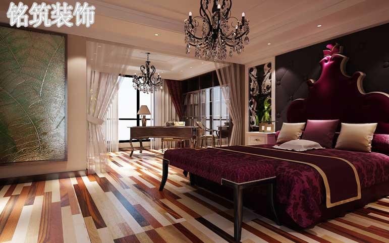 深红色的大床与黑色背景墙搭配以强调非理性因素来达到一种设计中的轻松和宽容