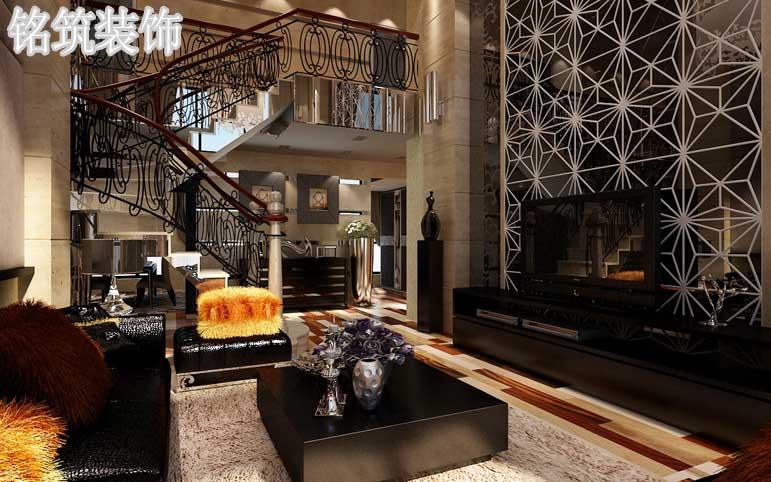 整体空间使用石材与镜片做装饰用铁艺雕花做点缀尽显奢华与唯美