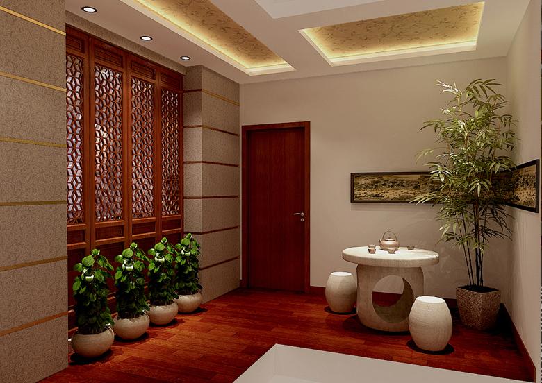为了舒服,中式的环境中不用传统的木椅,而用舒适沙发,但颜色仍然体现着中式的古朴,这样表现使整体空间,传统中透着现代,现代中揉着古典。