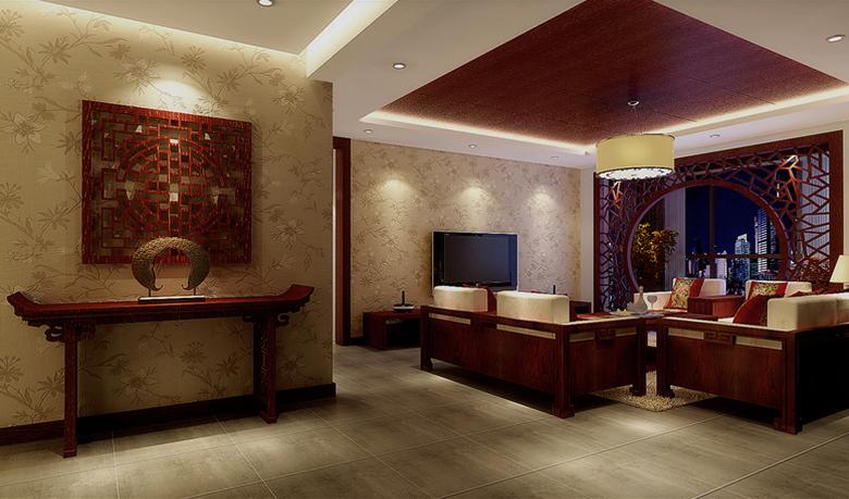 厅里摆一套明清式的红木家具,墙上挂一幅中国山水画,传统的书房自然少不了书柜,书案以及文房四宝。为了舒服,中式的环境中不用传统的木椅,而用舒适沙发,但颜色仍然体现着中式的古朴,这样表现使整体空间,传统中透着现代,现代中揉着古典。