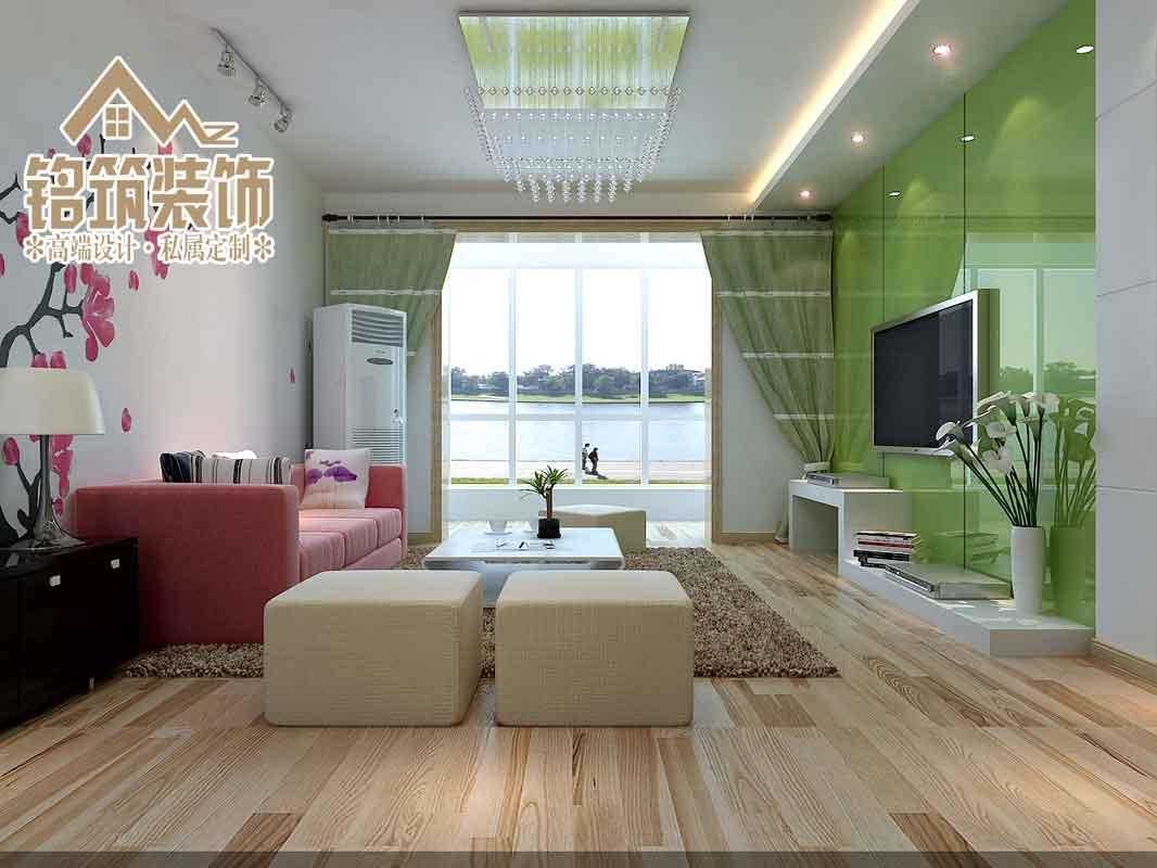 由于室内大面积以白色为住,所以在电视背景墙上使用绿色,这样可以使室内的色彩更丰富也可以体现年轻人的活力与时尚