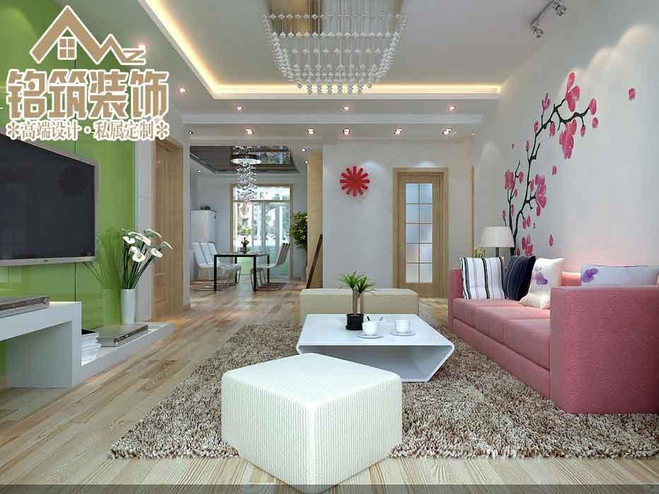 客厅与餐厅之间没有做任何造型这样可以使整个空间的通透性更强,用一些颜色比较纯的家具做装饰既可以使空间色彩丰富又可以彰显个性