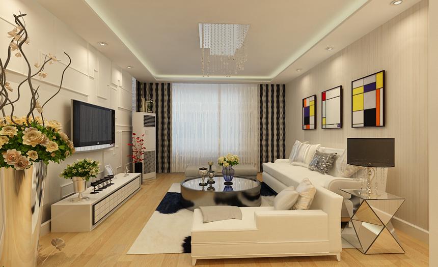 客厅设计:全房壁纸采用了藕荷色的壁纸,而在家居的使用上多数采用板式家具来打造,电视背景墙用了正面的石膏板线条造型来呈现,简单、大气。沙发背景墙用了三幅著名画家蒙德里安的画作来搭配,极具现代感。