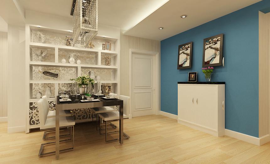 门厅设计:入户采用了整面蓝色乳胶漆进行了挑色,让整个客厅空间的色彩更丰富,中和了客厅大面积暖色带来的陈旧感。入户的吊顶让整个餐厅空间显得更加宽敞。