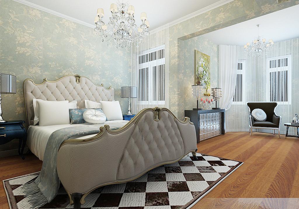 看烟台 三居室 卧室 简欧风格装修案例-家天下装修帮图片