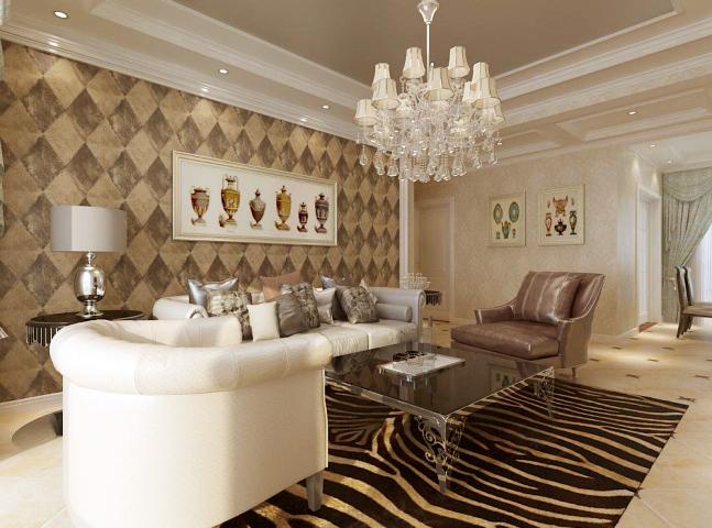 在家具和吊顶的材质选择上着重考虑了业主对欧式简化要求,又根据不同功能区域的划分,既有区别又有联系,视觉上温馨大气,别具一格,高雅宁静而又富有现代欧式的感觉。
