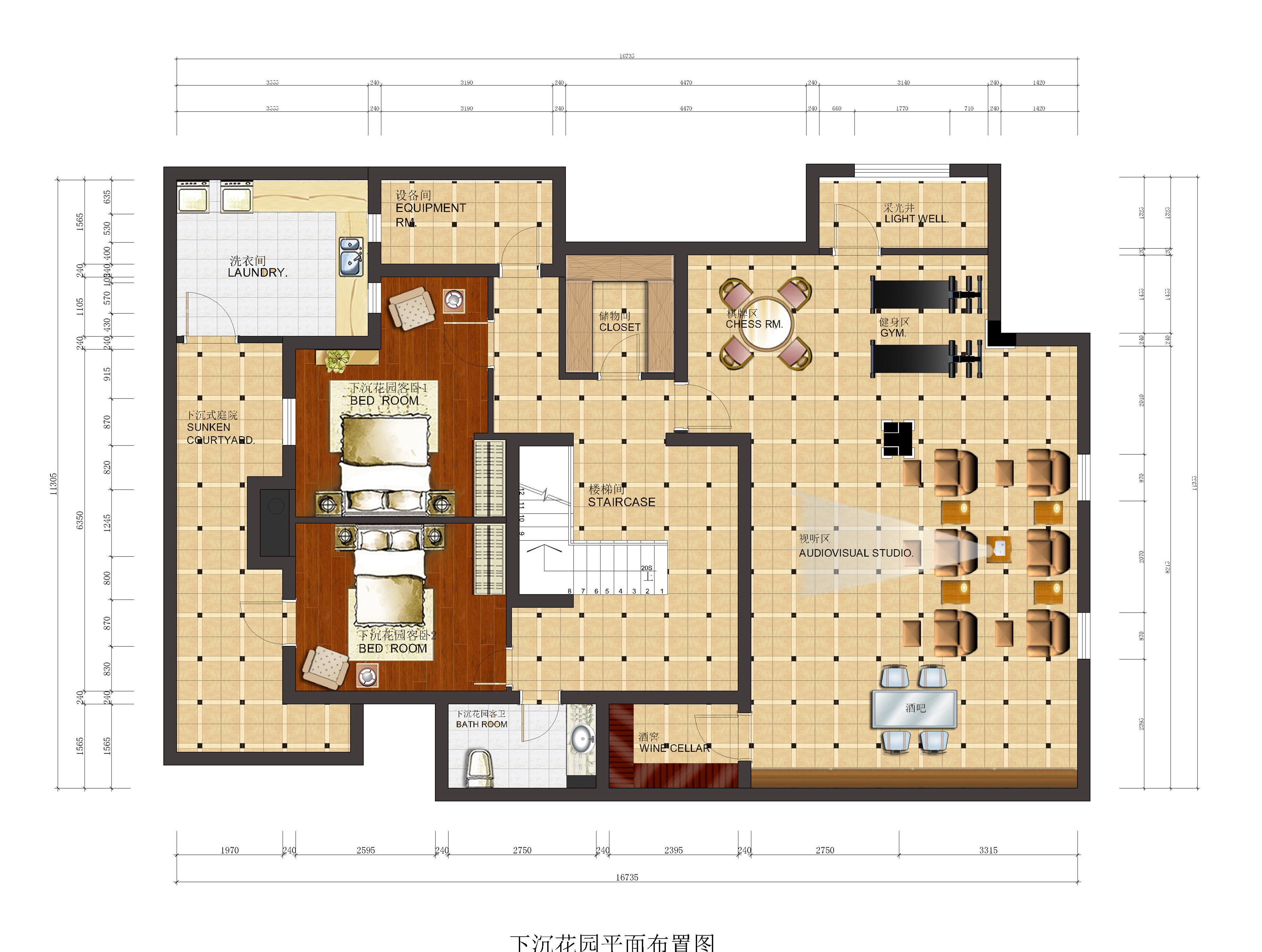 在这个方案内,卧室地面采用实木复合地板拼花,美观大方.图片
