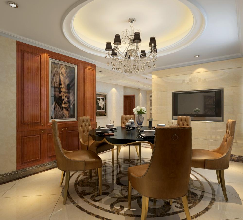 餐厅:采用简单的圆形吊顶,与简约的圆桌呼应,地面采用圆形拼花,整体更