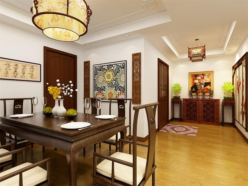 首先从入户门开始,一入眼帘的是一幅镶着木框的画作,鞋柜则放置成木质的柜子,倆端则放置俩盆绿植,吊灯则采用古典的中式吊灯。整个玄关餐厅以干净简洁的白色回型吊顶为主,白色的乳胶漆相互配合。餐厅的设计一盏古式的吊灯,在加上书法相互配合。客厅的设计大多是以木质结构为主,采用木质条纹的电视背景墙作为背景,沙发的背景墙则采用光色的万字为背景。整个户型采用木质的浅色实木复合地板,地板的浅色和天花相互配合,突出中式家具的沉稳。一盏白色的中式吊灯以及筒灯来照射整个空间的亮度。卧室则采用简洁的米黄色的壁纸,白色的吊灯相互映射,简洁的中式家具构成中式的卧室。书房的设计在很大程度上采用了中式的榻榻米的元素在靠近窗户