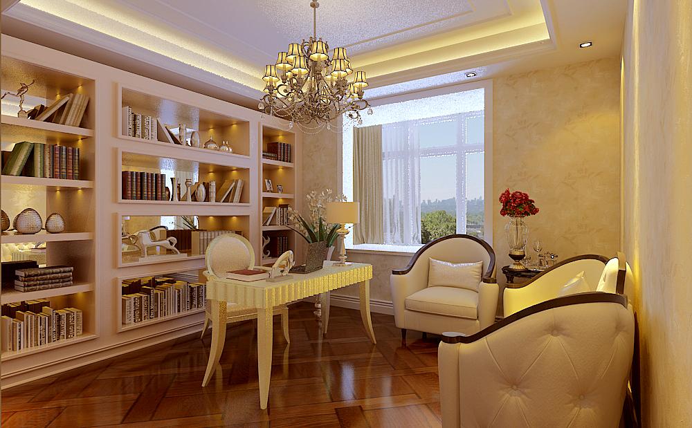 滟澜新宸-三居室-120.00平米-书房装修效果图-4万半包装修案例 简约欧高清图片
