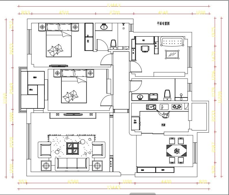 设计师和业主通过沟通商榷确定的平面布局方案。