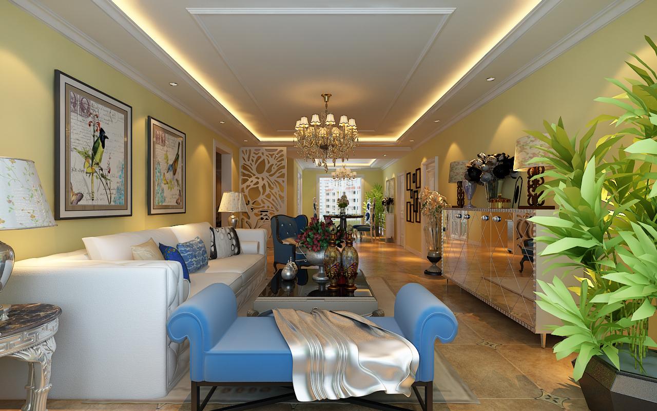 北京宝郡·盛唐雍景简欧风格二居室装修效果图_80平米图片
