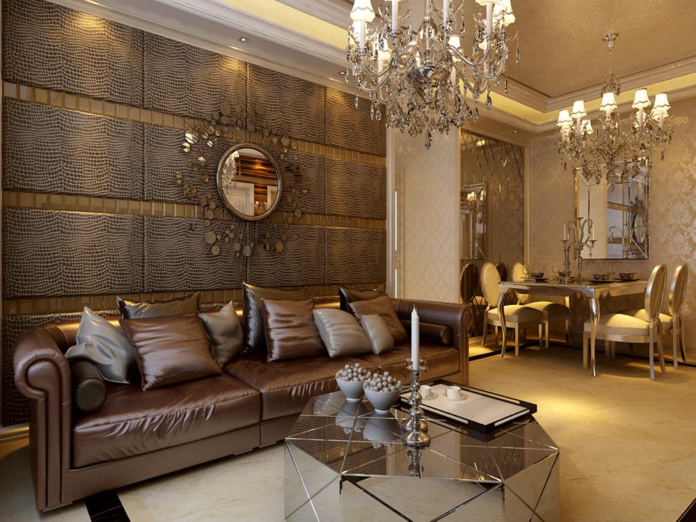 非常高端,沙发背景也是用了欧式元素的软包,让整个家里的颜色配比和图片