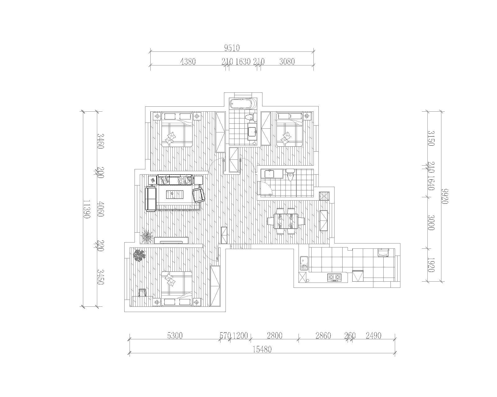 本案以白色系或黄色系为基础,搭配深棕色、金色等,表现出古典欧式风格的华贵气质。淡黄色的灯光,宽大的家具都让整个居室充满了欧式意境。
