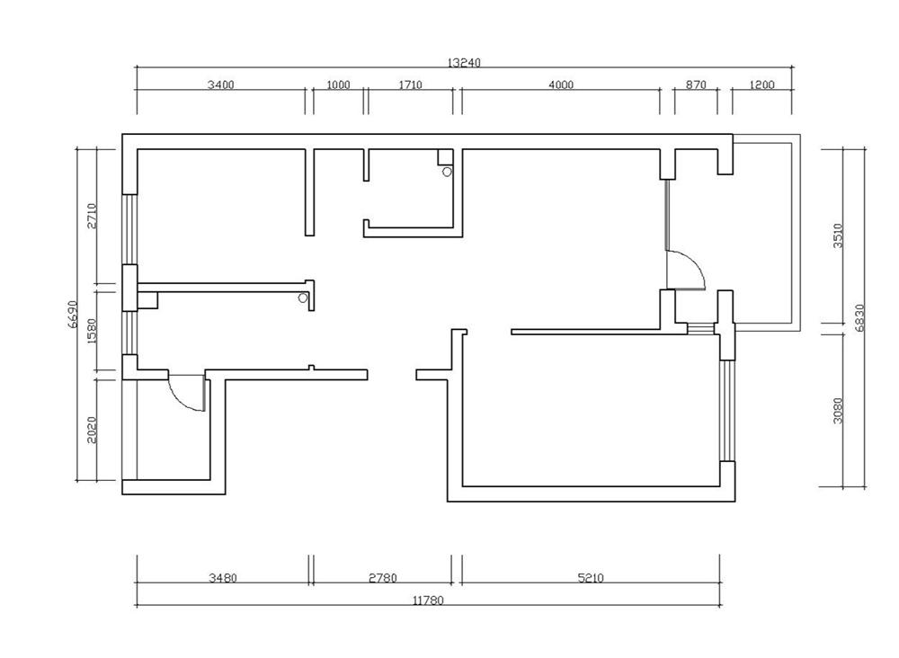 装修案例六: 小    区:鸿业兴园b户型 房屋状况:80平米   户型结构:2