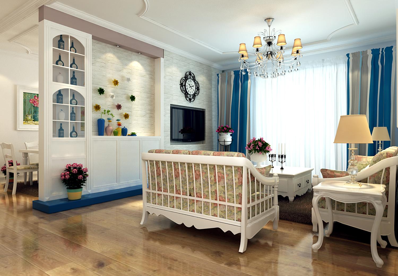田园风格二居室98平米5万-北美金棕榈装修案例-太原房
