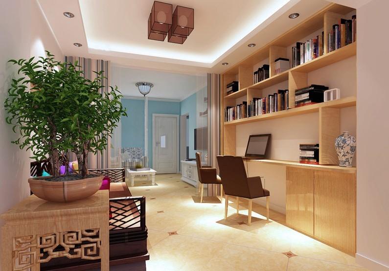 书房,保持简单的意念,捕捉光线、取材大自然,大胆而自由的运用色彩与样式。