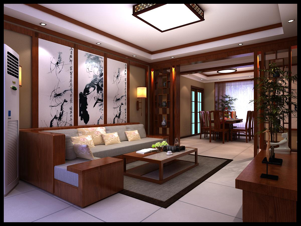 新中式三居室装修效果图138平米21万新中式三居室装修图片