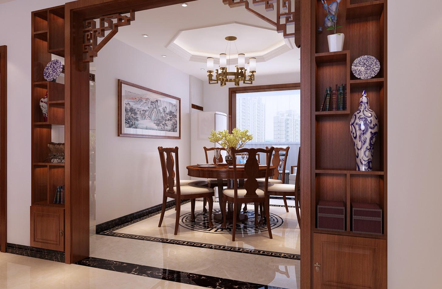 客厅电视背景墙造型简单大方,以玉石和木质线条为主,中间贴中式比划