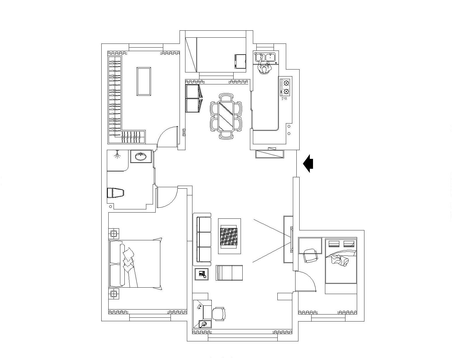 北欧风格的家具一个最大的特点是直线条的家具,令人体会到简约风格的魅力。十分贴近实际生活,有浓厚的人情味。黑白灰的色彩搭配让空间显得安静又柔和,其中刻意保留了一面灰色砖墙,让屋主在完全放松的环境下还可以想象过去的故事。其中运用了金属元素,让空间更加有层次。卧室设计更偏向于后现代,复杂的顶面造型与床头背景墙相呼应。