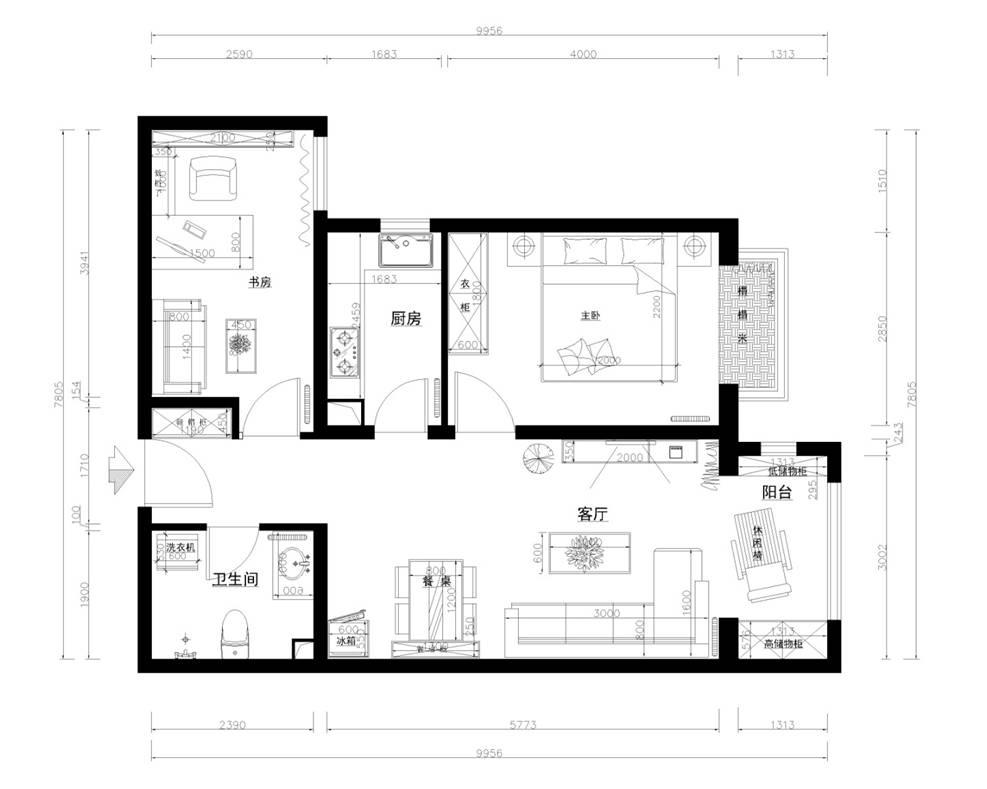 首开熙悦山熹园-二居室-73.00平米-户型图装修效果图