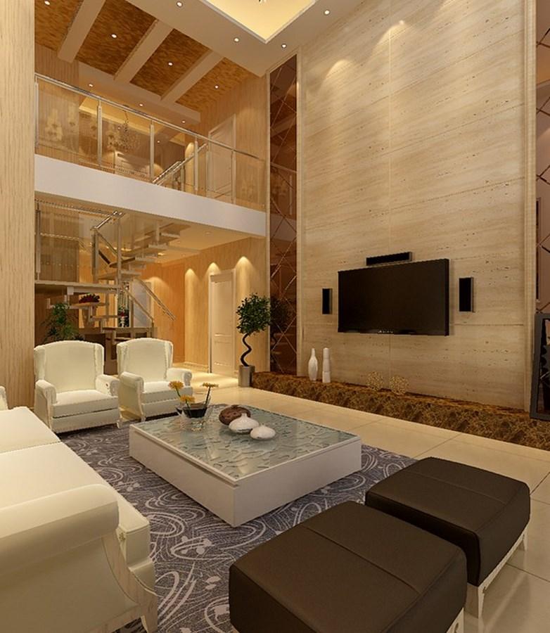 现代简约别墅300平米15万_复地东山国际装修案例-太原