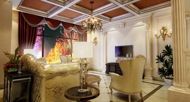 这是一套欧式风格非常明显的别墅设计。应客户要求,铭筑的设计师在组合运用了大量欧洲装饰风格元素同时对室内空间做了非常有意思的调整。高亮度地砖、石材的运用以及护墙板的搭配,为这个空间创造了柔和的光影效果,
