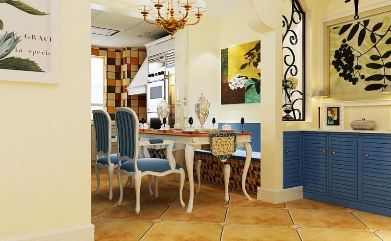 客厅沙发墙只是采用照片墙的风景画进行简单的装饰,配以浅蓝色的硅藻