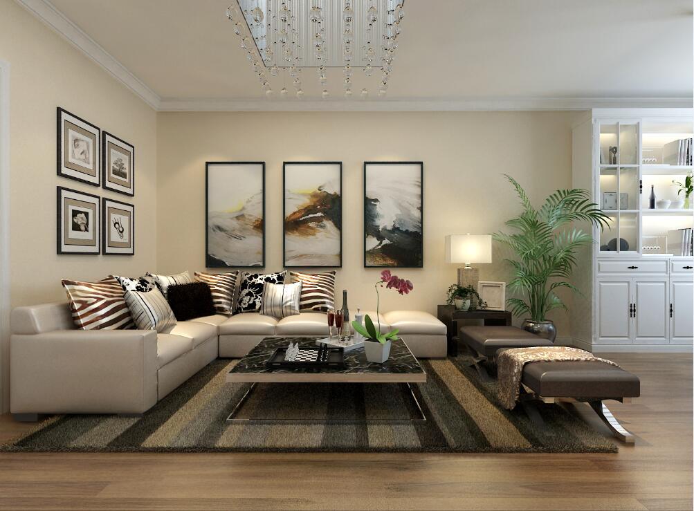 米罗湾现代简约风格88平米二居室装修案例赏析高清图片