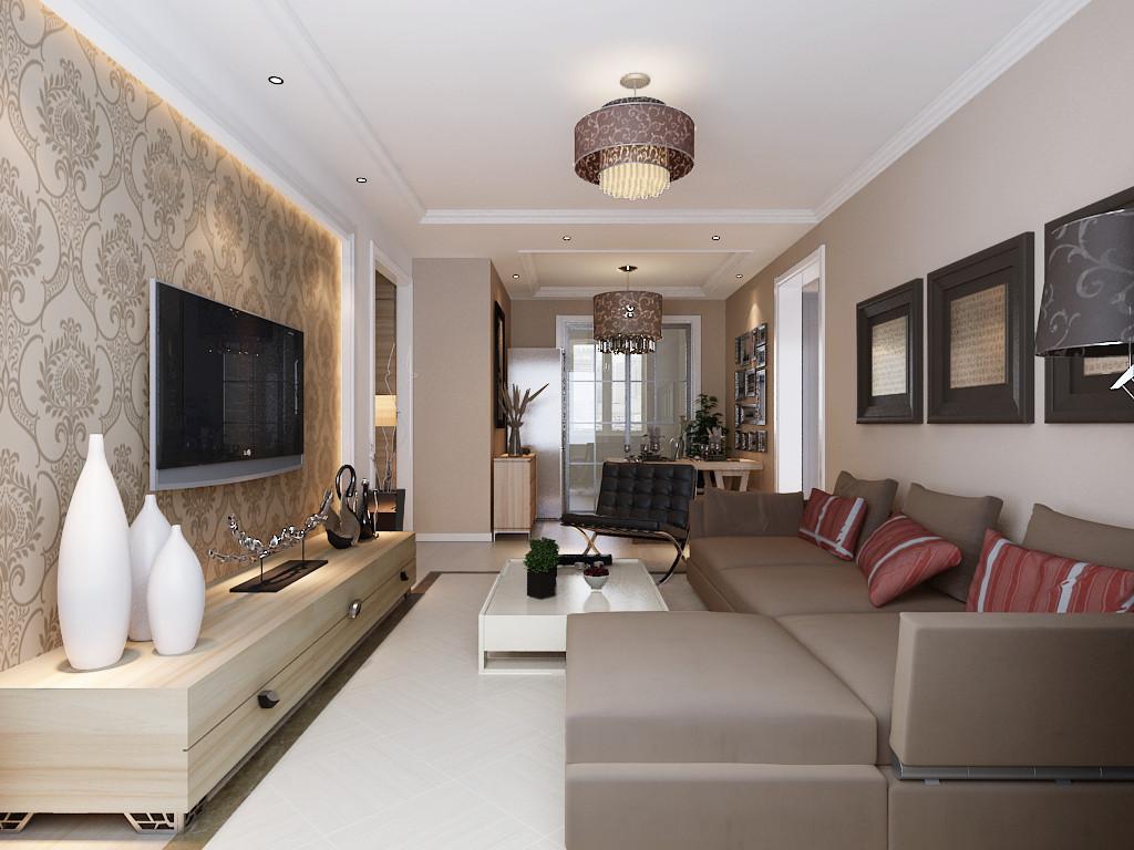 保利春天里-三居室-95.00平米-客厅装修效果图