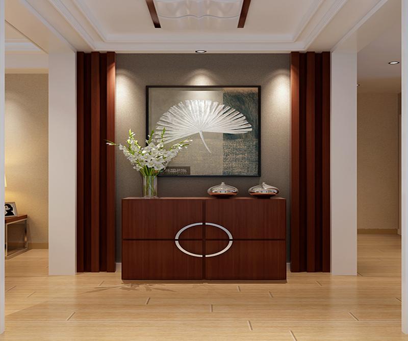 进门设计了一个玄关,跟哑口结合在一起,餐厅空间通过衣帽柜推拉门的镜