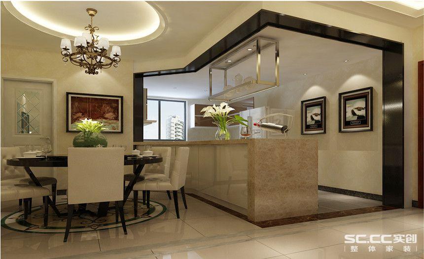家里的跃层高度使得餐厅的采光有一定的局限性,将整个厨房做成开放的形式,南北通透可以让空间的光源更好的通透