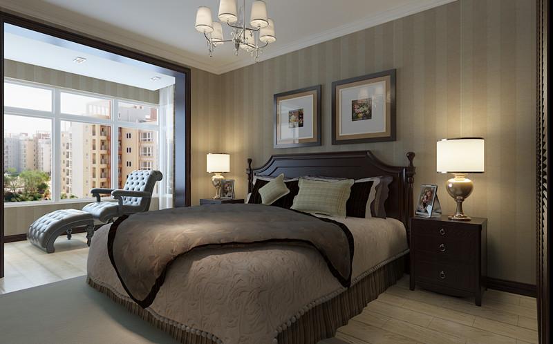 都是灰色橡木地板,配上墙面竖条纹壁纸,和经典的美式大床,色彩温馨