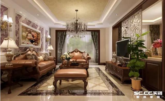 复古花纹的隔断、地砖、天花板和家具都透着浓浓的欧式古典味道,让人不禁有种穿上晚礼服轻舞的冲动。