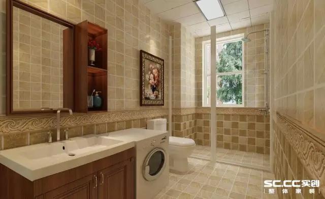 放一幅油画,让卫生间都充满艺术感。采用深浅色上墙砖与下墙砖结合,体现空间层次感。