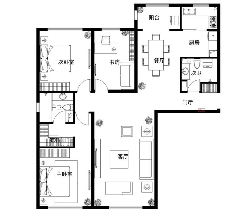 北苑家园-三居室-133.94平米-装修设计