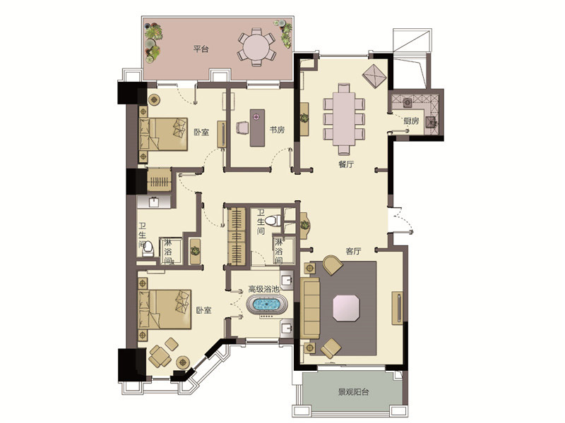 春晖园・随园-三居室-198.00平米-装修设计