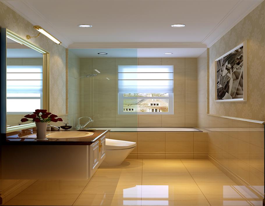个卫生间给人干净细腻的感觉,米黄色的全抛釉墙地砖,白色的洁具,木门搭配,从而更能彰显色彩的差异。简单造型的灯具和白色石膏板吊顶虽简单但能彰显此设计的与众不同。最后一幅挂画更是丰富了整个卫生间的情调。