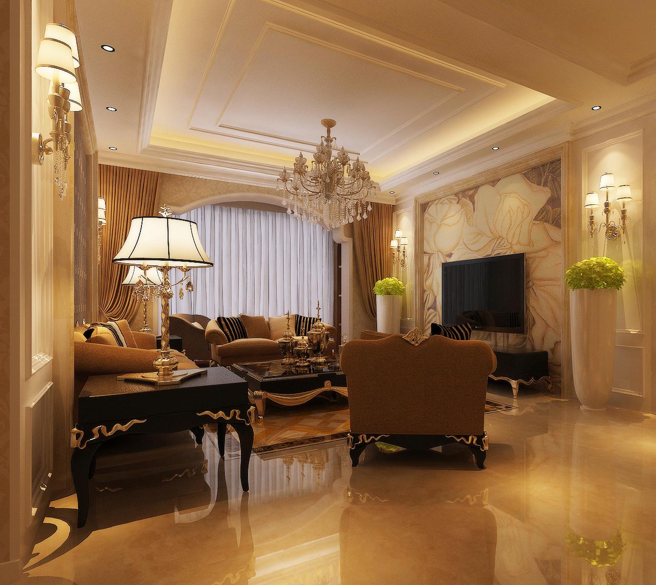 风格三居室装修效果图140平米6万简欧风格三居室装修案例大全 北京