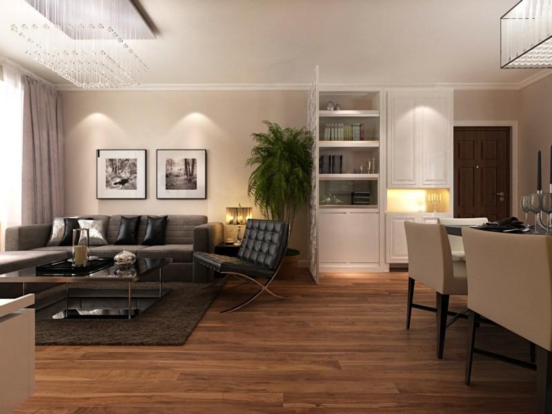 鸿泰锦园90平-两室两厅装修设计-简约大方