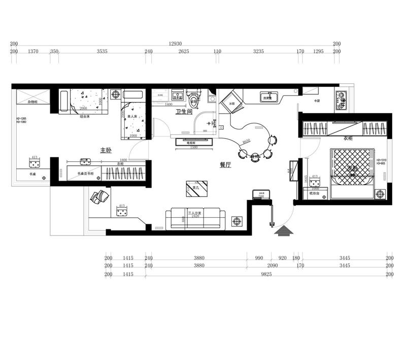 民安小区-二居室-64.00平米-户型图装修效果图高清图片