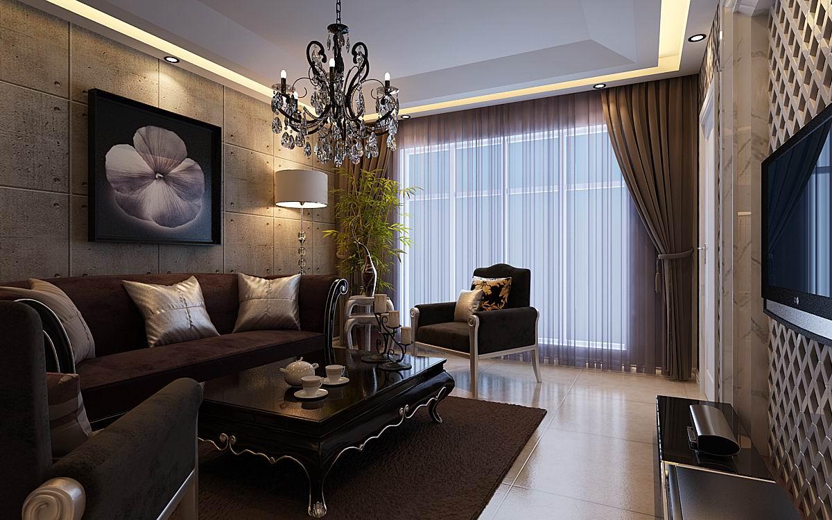 简欧风格二居室装修效果图54.80平米0万简欧风格二--.图片