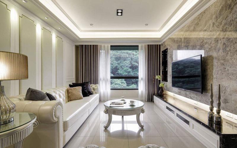 首开国风美唐-二居室-90.00平米-客厅装修效果图-三口之家的90平二居高清图片